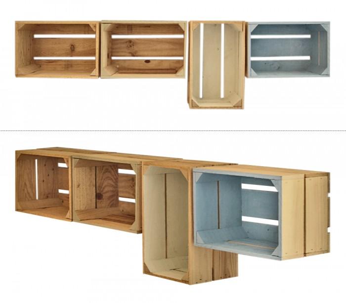 Embalajes de madera - Estanterias con cajas de fruta ...